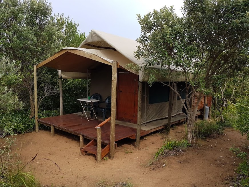 Covered patio, permanent tent holiday accommodation, Kosi Bay